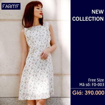 Váy Hạ Trắng Họa Tiết Hoa  FO-003