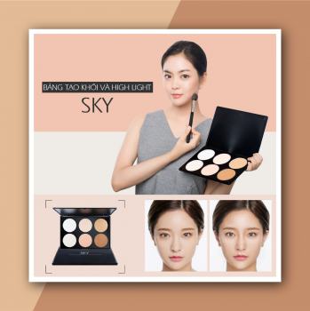 Phấn Highlight 6 Ô Sky - Sky Makeup Pro Highlight & Contour Palette